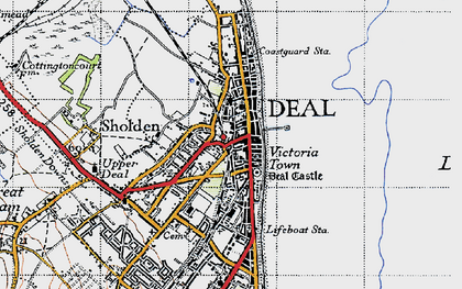 Old map of Deal in 1947