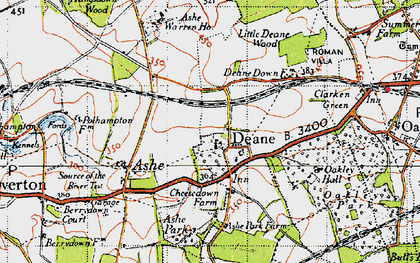 Old map of Ashe Park in 1945