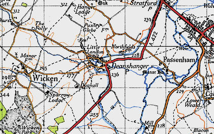 Old map of Deanshanger in 1946