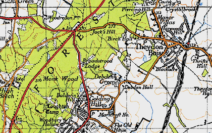 Old map of Woodbury Hollow in 1946