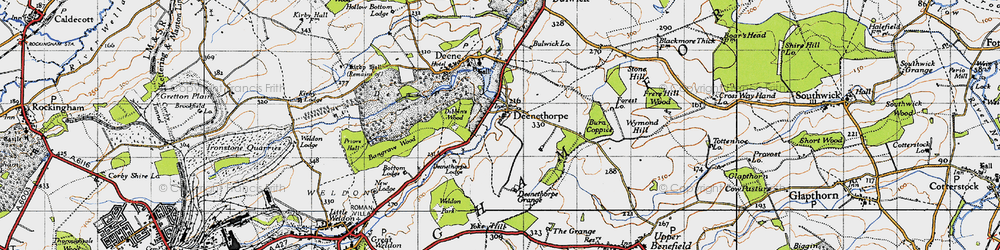 Old map of Yoke Hill in 1946