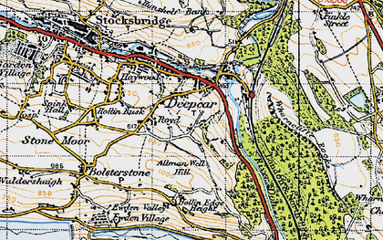 Old map of Allman Well Hill in 1947