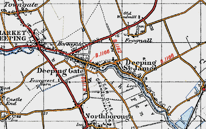 Old map of Deeping St James in 1946