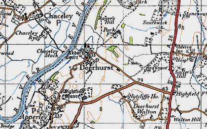 Old map of Deerhurst in 1947