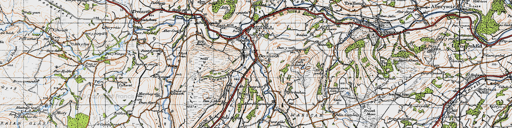 Old map of Abersenny in 1947