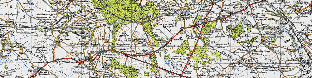 Old map of Delamere in 1947