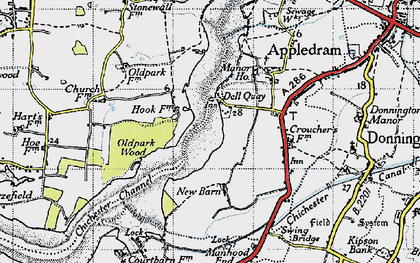 Old map of Dell Quay in 1945
