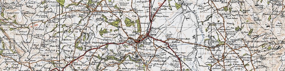 Old map of Denbigh in 1947