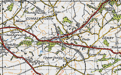 Old map of Denby Dale in 1947