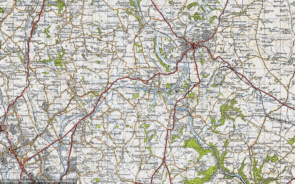Old Map of Historic Map covering Bank End in 1946