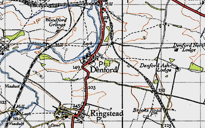 Old map of Denford in 1946