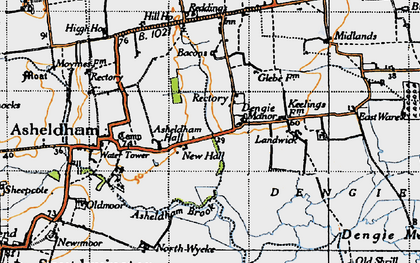 Old map of Bacons in 1945