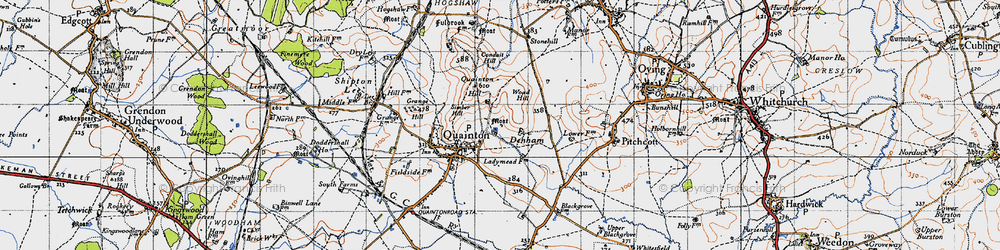 Old map of Woad Hill in 1946