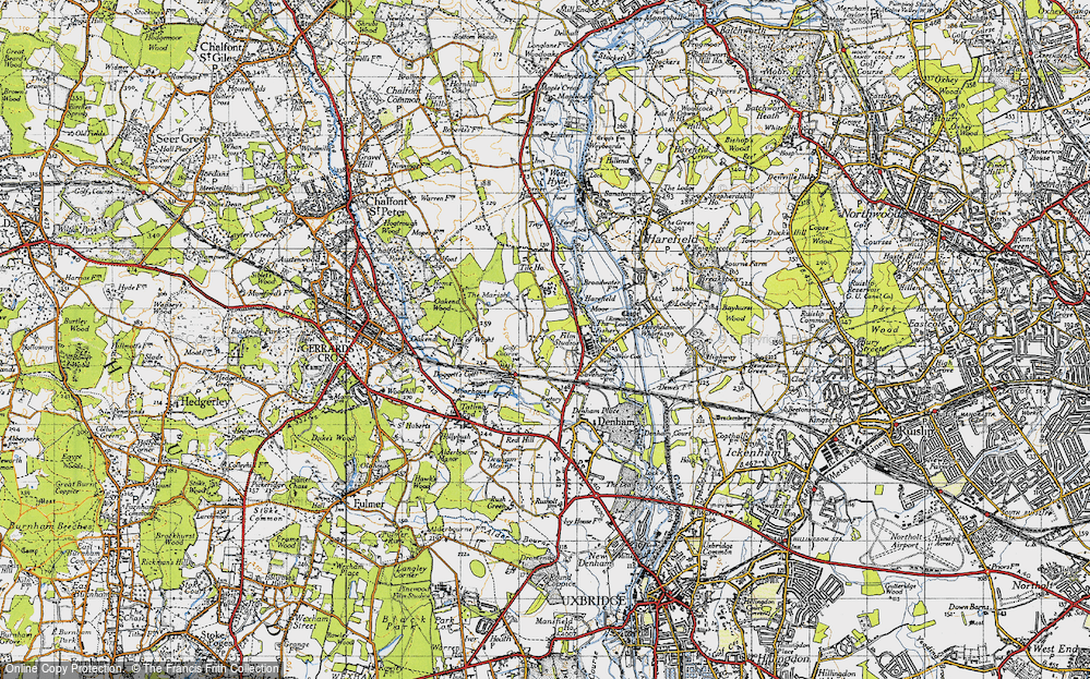 Old Map of Historic Map covering Tile Ho in 1945