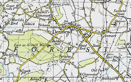 Old map of Denmead in 1945