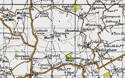 Old map of Badingham in 1946
