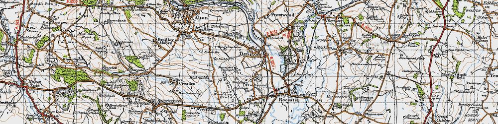 Old map of Denstone in 1946