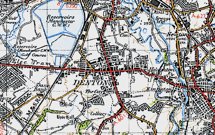Old map of Denton in 1947