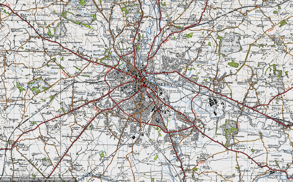 Old Map of Derby, 1946 in 1946