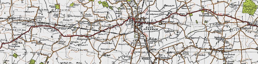 Old map of Dereham in 1946