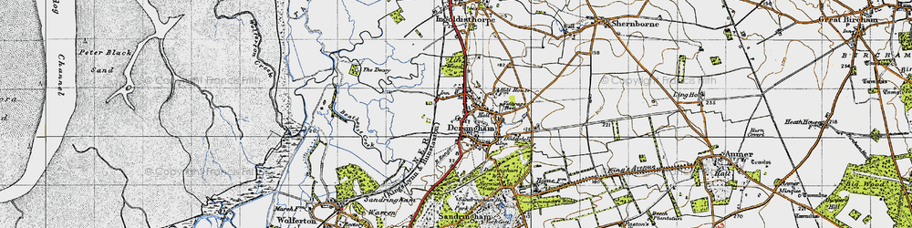 Old map of Dersingham in 1946