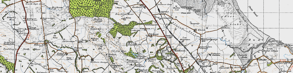 Old map of Tilesheds Wood in 1947