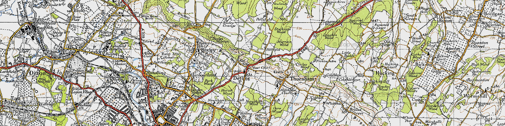 Old map of Detling in 1946