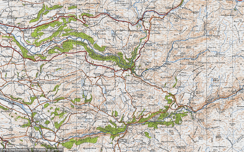 Old Map of Historic Map covering Banc y Bont in 1947