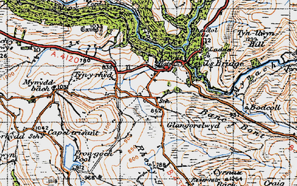 Old map of Banc y Bont in 1947