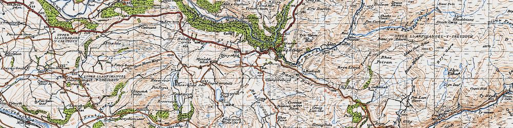 Old map of Devil's Bridge in 1947
