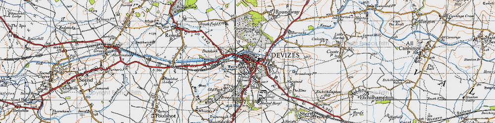 Old map of Devizes in 1940