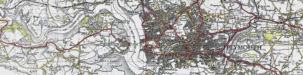 Old map of Devonport in 1946