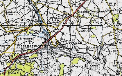 Old map of Devoran in 1946