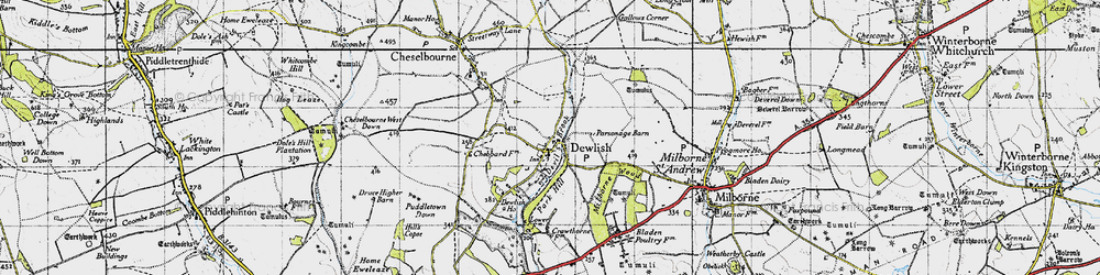 Old map of Whitelands Downs in 1945