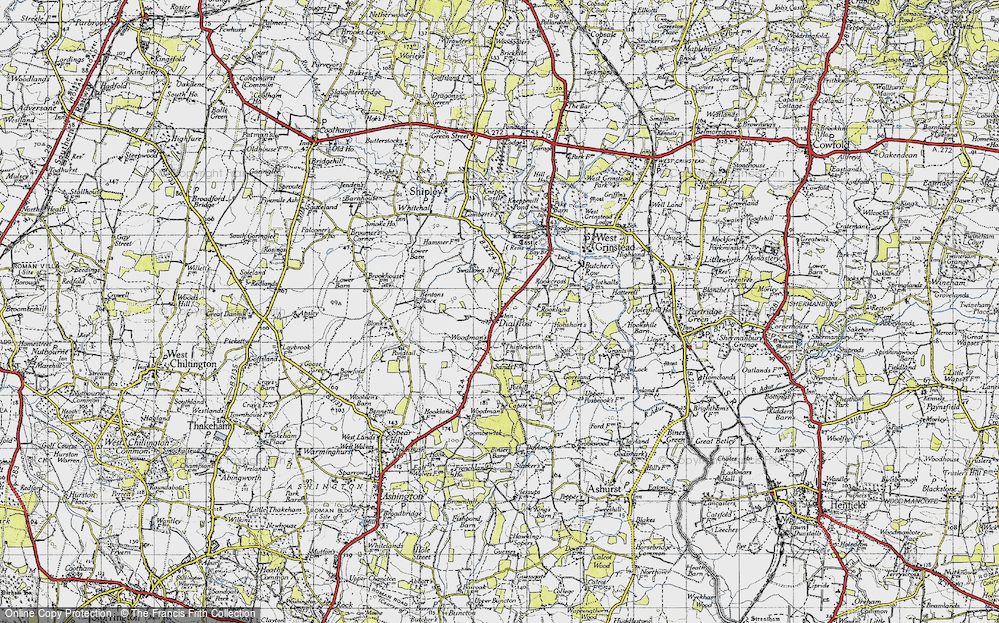 Old Map of Historic Map covering Woodmans Stud in 1940