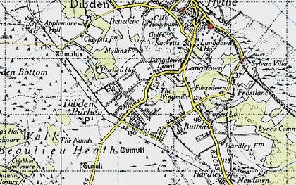 Old map of Dibden Purlieu in 1945