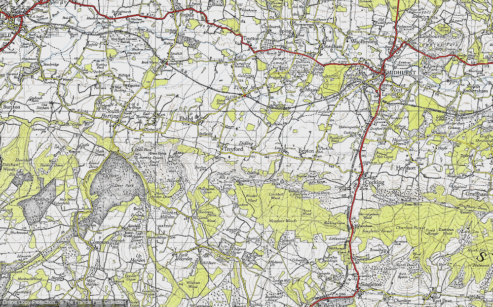 Old Map of Historic Map covering Linchball Wood in 1945