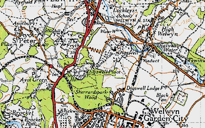 Old map of Digswell Park in 1946