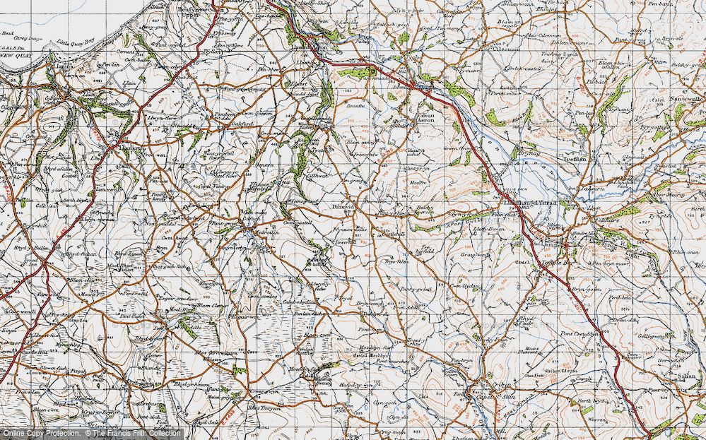 Old Map of Historic Map covering Afon Feinog in 1947