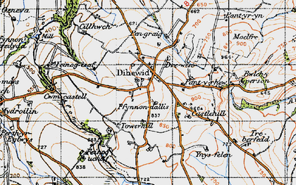 Old map of Afon Feinog in 1947