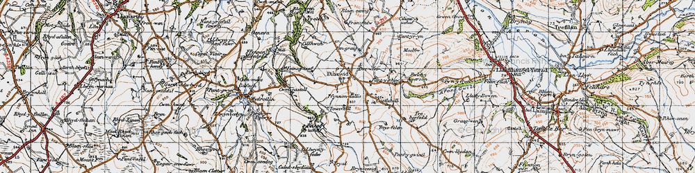 Old map of Afon Feinog in 1947
