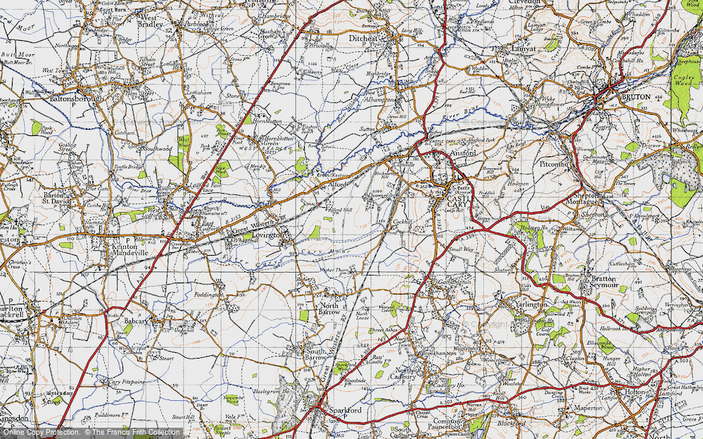 Old Map of Historic Map covering Alford Fields in 1945