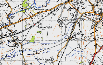 Old map of Alford Fields in 1945