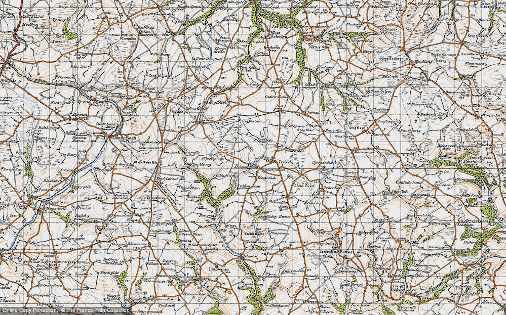 Old Map of Historic Map covering Afon Cynin in 1946