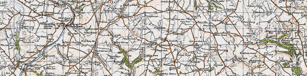 Old map of Afon Cynin in 1946