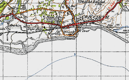 Old map of Dinas in 1947