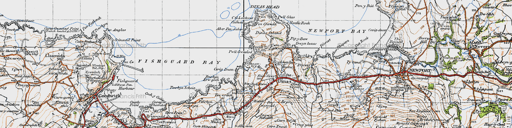 Old map of Aber Pensidam in 1947