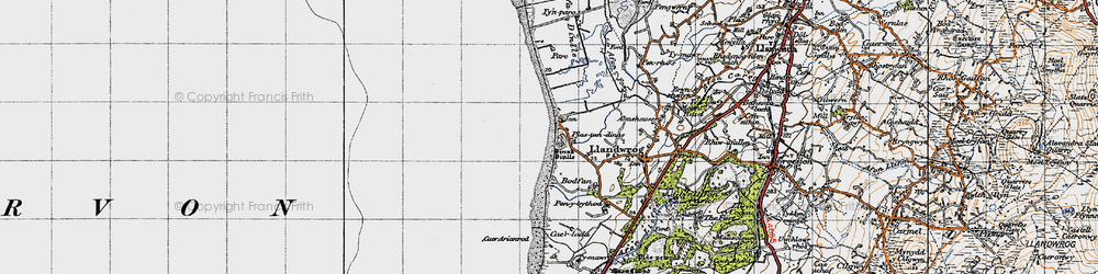 Old map of Dinas Dinlle in 1947