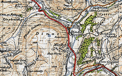 Old map of Afon Cerist in 1947