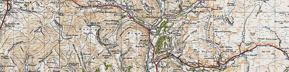Old map of Dinas-Mawddwy in 1947